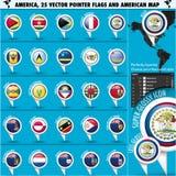 Symboler för Amerika pekareflagga med den amerikanska översikten set2 Royaltyfri Foto