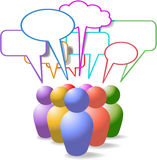 symboler för anförande för medelfolk bubbles sociala Royaltyfri Bild