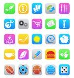 Symboler för app för olik stil för ios som 7 mobila isoleras på a Arkivfoto