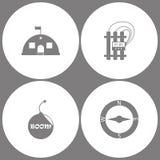 Symboler för armé för kontor för vektorillustrationuppsättning Beståndsdelar av baracker, det militära tältet, tid bombarderar, b stock illustrationer