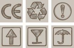 Symboler för att förpacka Royaltyfri Fotografi
