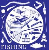 Symboler för att fiska Royaltyfria Bilder