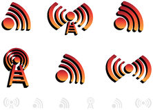 symboler för audio 3d Stock Illustrationer