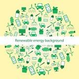 Symboler för bakgrundswitgförnybara energikällor Fotografering för Bildbyråer