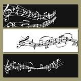 Symboler för baner för musiker för colorfull för anmärkningsmusikmelodi låter illustrationen för vektorn för symfonin för melodit Arkivbilder