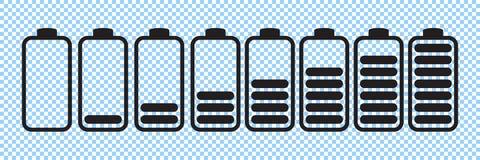 Symboler för batteriladdningsindikator, vektordiagram vektor illustrationer