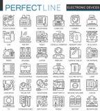 Symboler för begrepp för översikt för elektronisk apparat mini- Illustrationer in för stil för modern slaglängd för hushållgrejer royaltyfri illustrationer