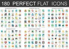 180 symboler för begrepp för symboler för vektorkomplexlägenhet av affärsmotivationen, analys, väsentlighet, affärsprojekt, start vektor illustrationer