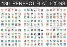 180 symboler för begrepp för symboler för vektorkomplexlägenhet av cybersäkerhet, nätverksteknologi, rengöringsdukutveckling, dig stock illustrationer