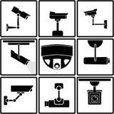 Symboler för bevakningkamera vektor illustrationer
