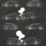 Symboler för bilkrasch vid krita Fotografering för Bildbyråer