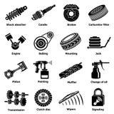 Symboler för bilreparationsdelar ställde in, enkel stil vektor illustrationer
