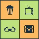 Symboler för bio för vektorillustrationuppsättning Beståndsdelar av projektorn, direktörstol, filmutmärkelse och går av berömmels vektor illustrationer