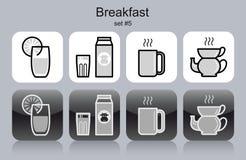 symboler för blåbärfrukostsädesslag mjölkar yoghurt för pannkakasmoothiedillandear Arkivbilder