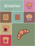 symboler för blåbärfrukostsädesslag mjölkar yoghurt för pannkakasmoothiedillandear Royaltyfri Foto
