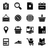 Symboler för Black Friday shoppingskåra royaltyfri illustrationer