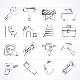 symboler för byggnadskonstruktion Arkivbild