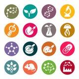 Symboler för cirkel för bioteknikvetenskapstema royaltyfri illustrationer