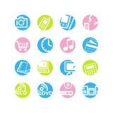 symboler för cirkel e shoppar fjädern Arkivfoton