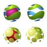Symboler för cirkeljordklotlogo stock illustrationer