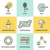 Symboler för Crowdsourcing och finansieringpengarlägenhet Royaltyfria Foton