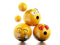 symboler för 3d Emojis med ansiktsuttryck Arkivfoton