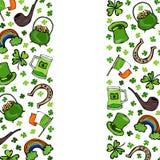 Symboler för dag för irländareSt Patricks Den gröna hatten, hästskon, kruka av guld, flaggan, öl rånar, regnbågen, växt av släkte royaltyfri illustrationer