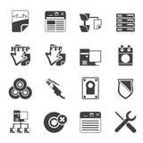 Symboler för dator för konturserversida Royaltyfri Bild