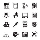 Symboler för dator för konturserversida Arkivbild