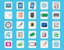 Symboler för dator- och kontorslägenhetfärg Stock Illustrationer