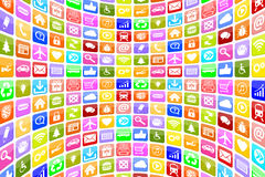 Symboler för den applikationApps App symbolen för mobil eller ilar telefonbackgr Arkivbilder