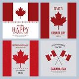 symboler för den knappKanada dagen ställde in royaltyfri illustrationer