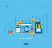 Symboler för den mobila marknadsföringen, online-shopping Royaltyfri Fotografi