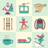 Symboler för design för vinterlopplägenhet arkivbilder