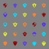 Symboler för designsköldfärg på grå bakgrund Fotografering för Bildbyråer