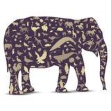 symboler för djurelefantjordklot gjorde översikten royaltyfri illustrationer