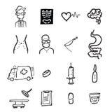 Symboler för doktors- och medicintecknad filmteckning stock illustrationer