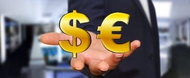 Symboler för dollar och för euro för affärsmaninnehav hand drog Arkivbilder