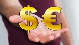 Symboler för dollar och för euro för innehav för ung man hand drog Royaltyfri Foto