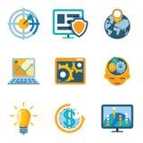 Symboler för effektivitet för processautomation och förhöjning vektor illustrationer