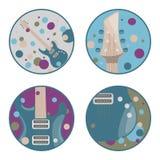 Symboler för elektrisk gitarr vektor illustrationer