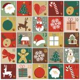 symboler för element för jul för adventkalendertecknad film time olikt stock illustrationer