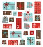 symboler för element för jul för adventkalendertecknad film time olikt Färgrik samling av vektorn vektor illustrationer