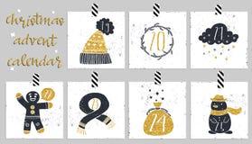 symboler för element för jul för adventkalendertecknad film time olikt Sex dagar av jul Fotografering för Bildbyråer