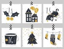 symboler för element för jul för adventkalendertecknad film time olikt Sex dagar av jul Arkivbilder