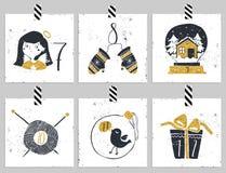 symboler för element för jul för adventkalendertecknad film time olikt Sex dagar av jul Arkivfoton