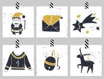 symboler för element för jul för adventkalendertecknad film time olikt Sex dagar av jul royaltyfri illustrationer