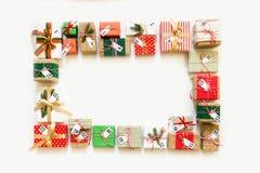 symboler för element för jul för adventkalendertecknad film time olikt Gåvor för julkalendern Vit backgro Fotografering för Bildbyråer