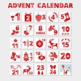 symboler för element för jul för adventkalendertecknad film time olikt Kort för julferieberöm för nedräkning stock illustrationer