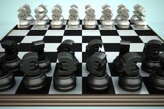 symboler för euro för schackbrädevalutadollar Royaltyfria Foton